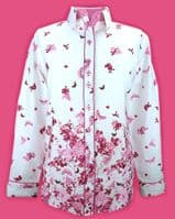 Grenouille Ladies Long Sleeve Pink Butterfly Border Print Shirt
